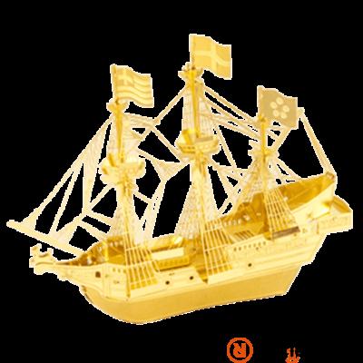 Metal Earth aranyszínű Golden Hind hajó